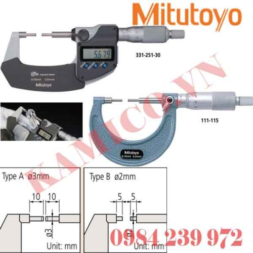 Panme đầu nhỏ Mitutoyo 111, 331, 131